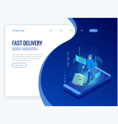 isometric online express free fast delivery vector image