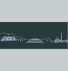 Kabul single line skyline vector