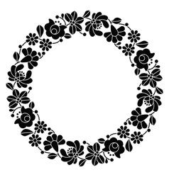 Kalocsai black embroidery in circle - hungarian vector