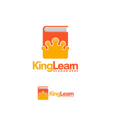 king learn logo template glory learn logo designs vector image