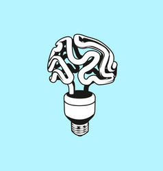 logo icon emblem with brain and light bulb vector image