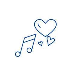love music line icon concept love music flat vector image