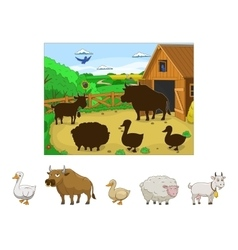 Match the animals to their shadows child game vector