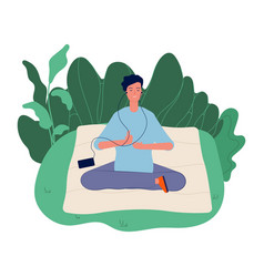 Meditation concept male meditating yoga vector