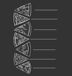 menu for pizza vector image