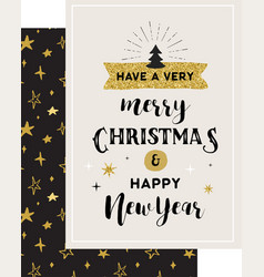 merry christmas hand drawn card vector image