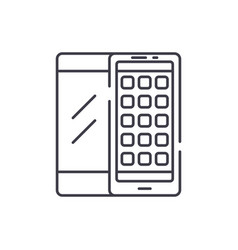mobile applications line icon concept mobile vector image