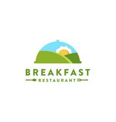 Mountain landscape and sun omelet logo breakfast vector