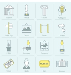 Museum icons flat line vector