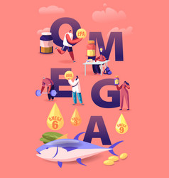 Omega fat concept people take products vector