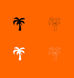 Palm black and white set icon vector