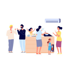 party with food women cooking men talking vector image