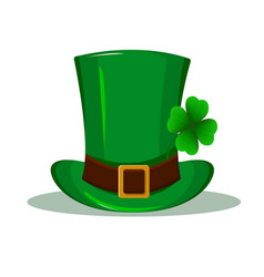 Patrick hat green hat with four leaf clover vector