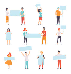 people holding blank banners set promotion vector image