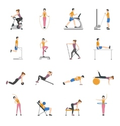 People Training At Gym Icons Set vector image