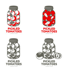 Pickles glass jar flat vector