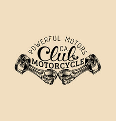 Powerful motors vintage motorcycle club vector