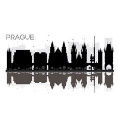 Prague city skyline black and white silhouette vector