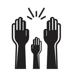 Raising hands audience celebrate flat icon vector