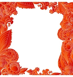 Red abstract floral ornament background vector image