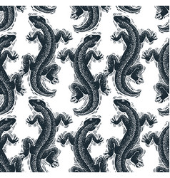 Reptilian seamless pattern lizards top view vector