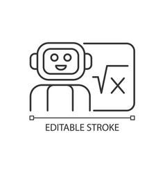 Robotics in education linear icon vector