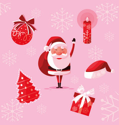 santa claus christmas with set icons vector image