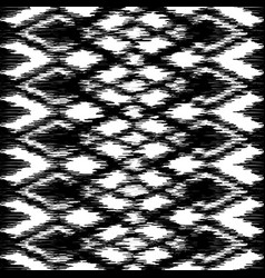 Seamless black and white ikat ethnic pattern vector