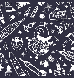seamless pattern space in cartoon style vector image