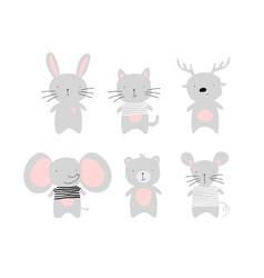 Set cute animal kids elephant bunny mouse vector