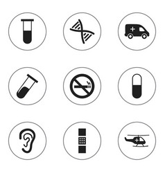 Set of 9 editable health icons includes symbols vector