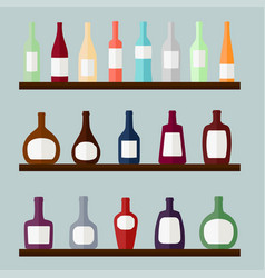 Set of alcohol drinks on the shelves vector