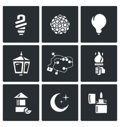 Set of Lighting Icons Powersave lamp vector