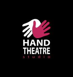 Set of plastic hands theatre studio logo design vector
