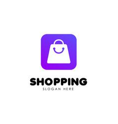 shopping logo design template shopping bag icon vector image