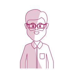 silhouette man with beard glasses and casual vector image