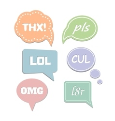 Simple abbreviations speech bubbles LOL and THX vector image