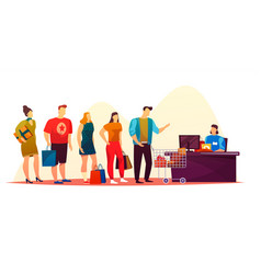 simple people waiting at shop queue or market line vector image