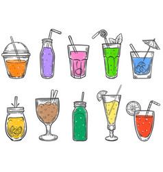 Sketch summer drinks glass soft drink cold vector
