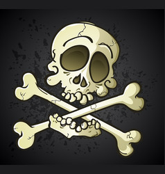 Skull and crossbones jolly roger cartoon character vector