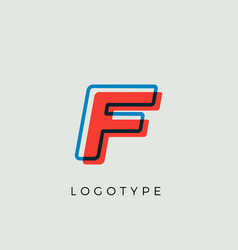 stunning letter f with 3d color contour vector image