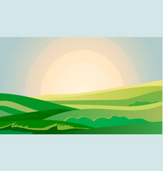 Summer green landscape field dawn above hills with vector
