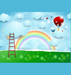 surreal landscape with ladder and hot air balloons vector image
