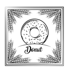 sweet donut vintage frame wheat decoration vector image