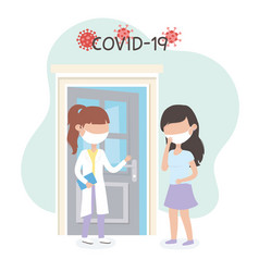virus covid 19 quarantine female doctor and woman vector image