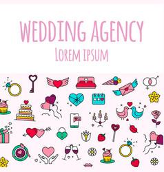 wedding agency- line design style banner on white vector image