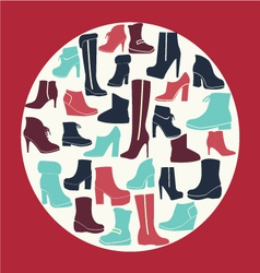 Winter shoes collection vector