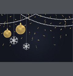 xmas background with gold and silver decoration vector image