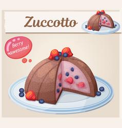 Zucotto dessert with berries icon cartoon vector