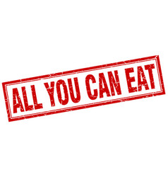 All you can eat red square grunge stamp on white vector